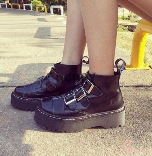 Femme Haut Top Creepers Plateforme Plates Cuir Verni Derbies à boucle et fermeture éclair Chaussures @
