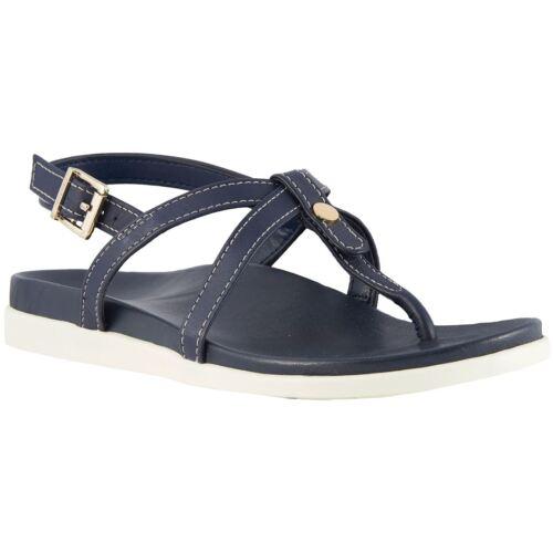 Vionic Palm Veranda Bleu Marine pour Femme Cuir Bride Arrière toe post sandals