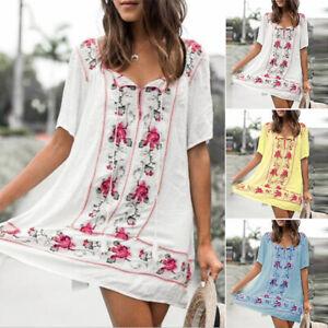 ZANZEA-Women-V-Neck-Floral-Print-Long-Shirt-Dress-Summer-Beach-Mini-Dress-Plus