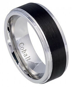 317374705d5be Details about Cobalt Ring Men Women Wedding Band Black IP Brushed Center  Stepped Edge 8mm