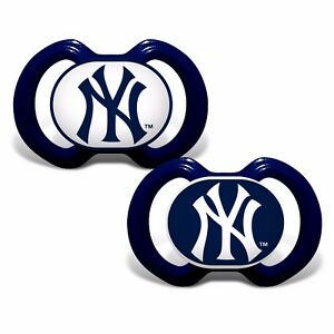 New York Yankees Pacifiers 2 Pack Set Infant Baby Fanatic BPA Free MLB NWT