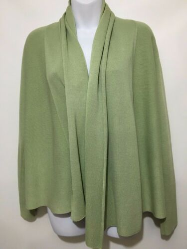Eileen Fisher PM Apple Green Silk Cotton Shawl Col
