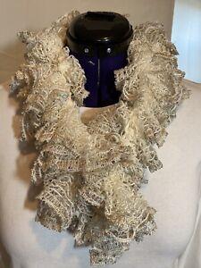 White ruffled scarf