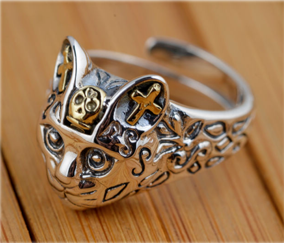 Adjustable Cat head skull Day of the Dead Kitty 925 Silver Woman lady Open Rings