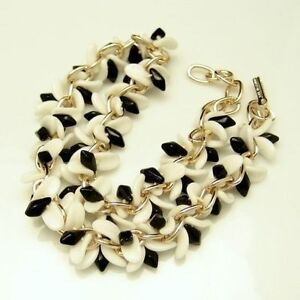 GERMANY-Vintage-Chunky-Black-White-Glass-Beads-Choker-Necklace-Chain-Goldtone