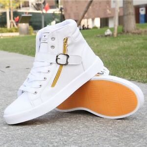 Men-039-s-Casual-High-Top-Sport-Sneakers-Stylish-Running-Leather-Shoes-Hip-Hop