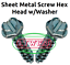 "20 #5//16-9 x 3//4/"" Sheet Metal Screw Slot Hex Washer Head Type A Zinc"