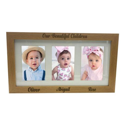 """Our Children Personalised Triple picture photo frame 6/""""x4/"""" B48-15"""