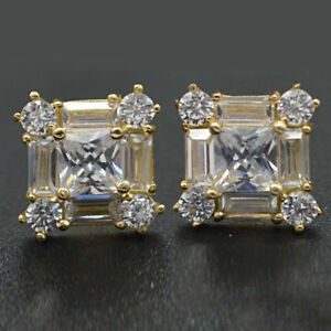 1-50Ct-Cushion-Cut-Diamond-Women-039-s-Push-Back-Stud-Earrings-14k-Yellow-Gold-Over
