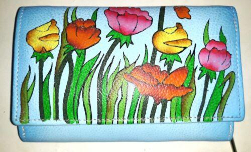 Designer portafoglio portafoglio portafoglio donna vera pelle dipinta a mano Srijan