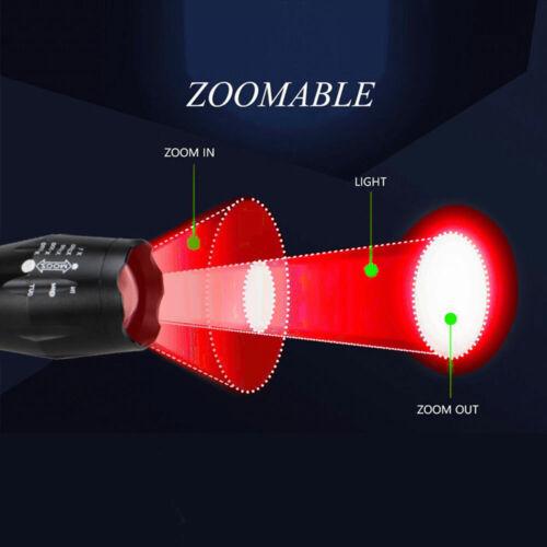 2 Pcs Powerful Red LED Flashlight Single Mode Long Range Red Hunting Light Torch