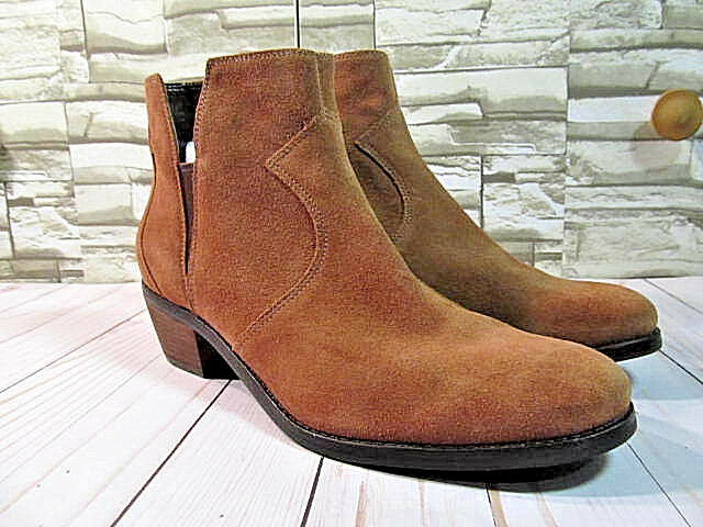 Cole Haan Womens Ankle Booties Beige Suede Almond Toe Block Heel  Size 11 B