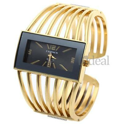 Fashion Women's Golden Bangle Bracelet Analog Wrist Watch Hollow Alloy Band