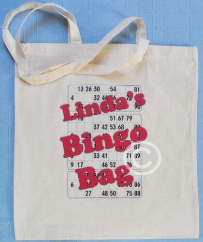 PERSONALISED NATURAL COTTON SHOULDER BAG BINGO BAG Add your own name!