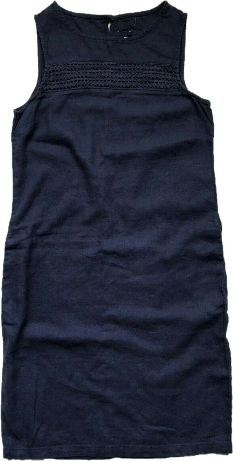 BN NEXT LADIES LINEN BLEND NAVY SUMMER BEACH SHIFT DRESS TUNIC SIZE 6/20 £18.99