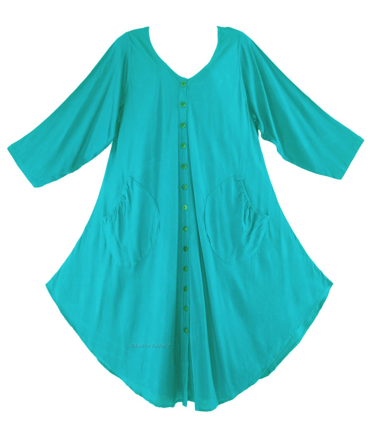 cd2ad7f042a BeautyBatik Turquoise Women Lagenlook Long Sleeve Plus Size Vest Tunic Top  0X