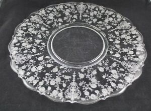 "Vintage Cambridge Glass ""Rose Point"" Serving Platter / Charger Tray 14 ¼"""