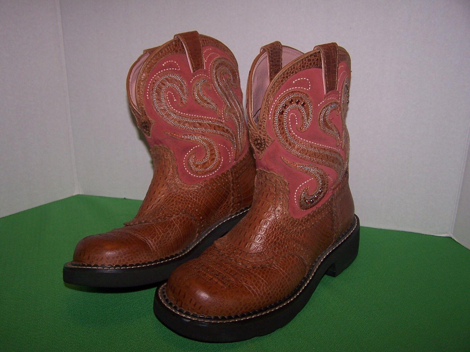 Ariat Fatbaby Cowgirl Stiefel Größe 6.5 Braun and pink