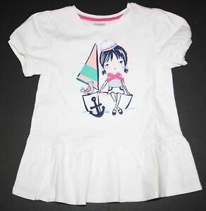New-Gymboree-Girls-White-Sailboat-Peplum-Top-Tee-Shirt-NWT-3T-4TShore-To-Love