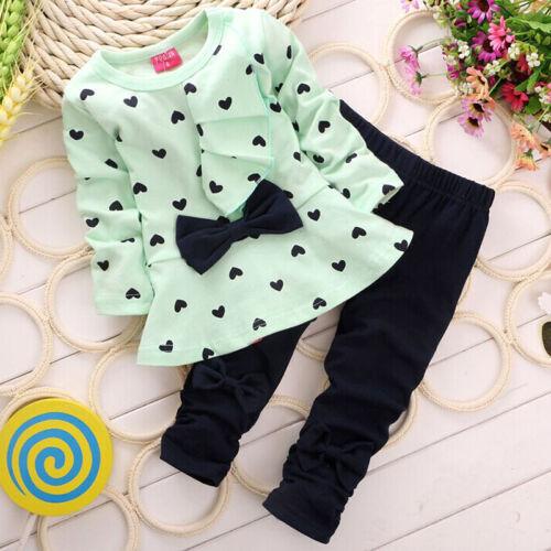 New Baby Girl Sets Heart-shaped Print Bow Cute 2PCS Kids Set T shirt Pants
