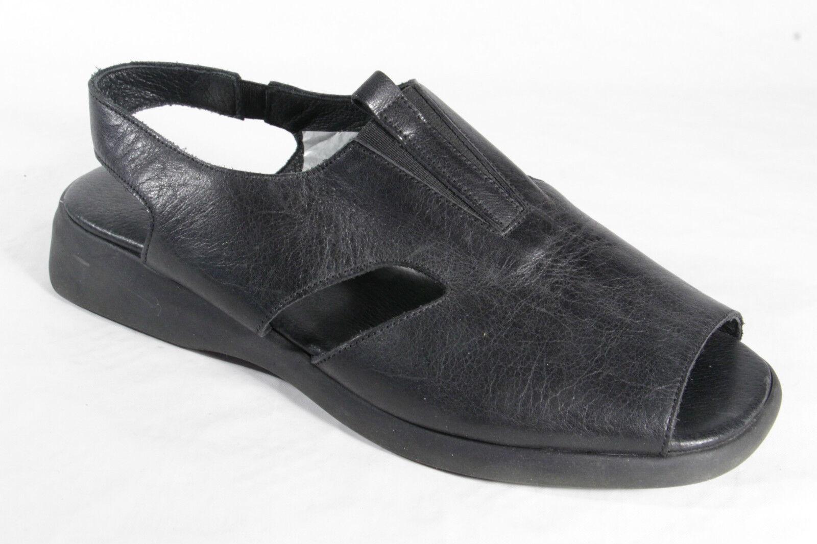Manas Femmes Sandalettes Véritable Cuir Noir Neuf