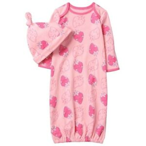a6166ef7778a NWT Gymboree Baby Girl 6-9 Months Strawberry Gown Beanie Set Pink ...