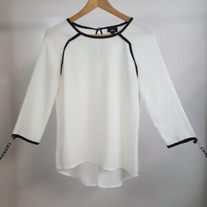 Mossimo-White-Sheer-Black-Trimmed-Blouse-Long-Sleeve-Key-Neck-Back-Top-Size-XS