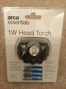 Head-Torch-Arch-1W-battery-Brand-New-Sealed-Bargain