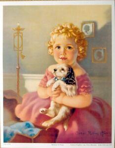 art print~BEDTIME FOR PUPPY~Mabel Rollins Harris little Girl Dog Bed vtg r 12x15