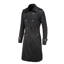 New Men Slim Double Breasted Long Trench Coat Trenchcoat Jacket Male Black Coat