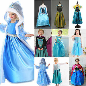 Kids Girls Frozen Princess Queen Anna Elsa Cosplay Costumes Party Birthday Dress