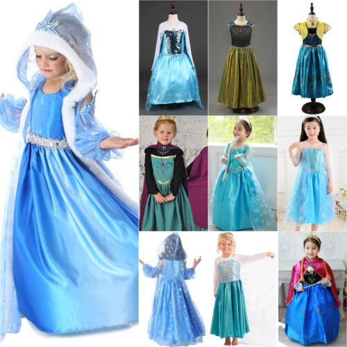Kids Girls Elsa Frozen Dress Cosplay Costume Princess Anna Party Fancy Dresses