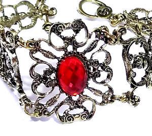 Antiqued-Fashion-Bracelet-Acrylic-Rhinestone-Bridal-Wedding-Prom-Ruby-Red