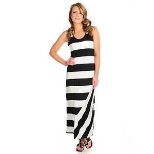 New Kate Mallory Stretch Knit Sleeveless Wide Striped Maxi Dress