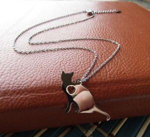 Collana-da-donna-girocollo-con-ciondolo-gatto-in-acciaio-inox-maglia-argento-per