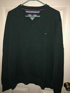 Tommy-Hilfiger-Men-039-s-Size-XL-Pullover-V-Neck-Cotton-Sweater-GREEN