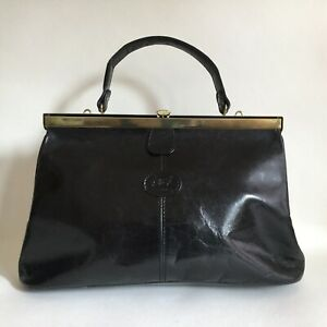 Carriage-Medium-Size-Black-All-Leather-1980s-Vintage-Handbag-Pre-Owned