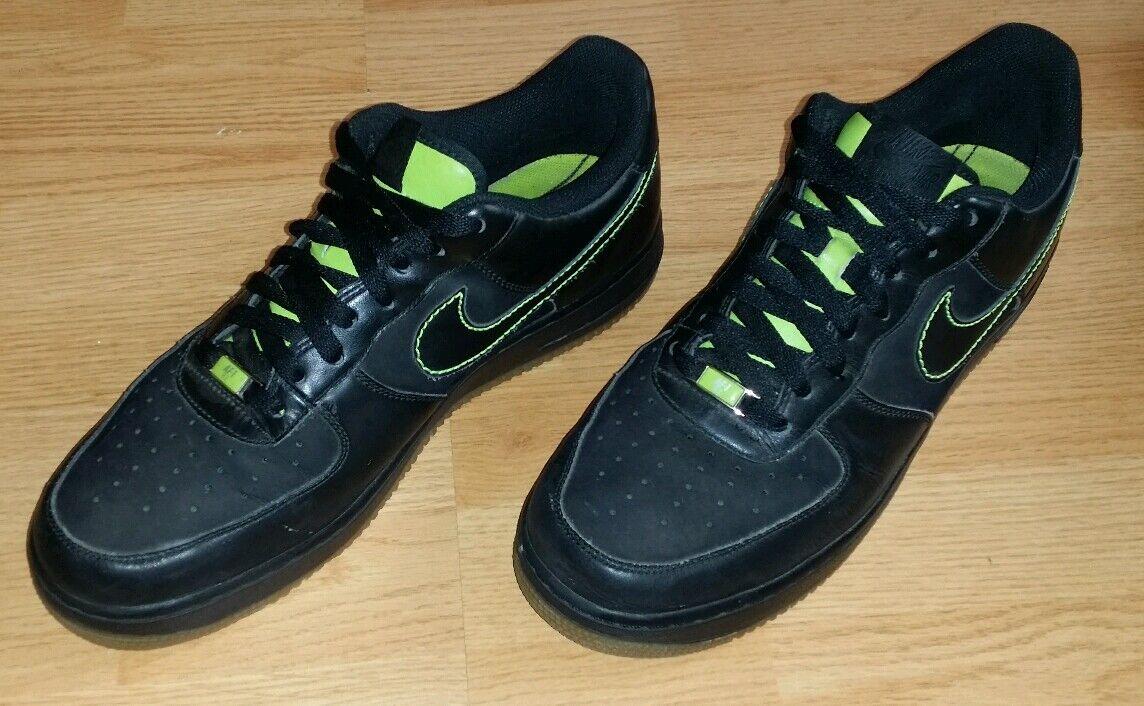 Men's Vintage 2018 Nike Air Force 1 Black Volt Gum  Shoes Size 11 (315122-002)