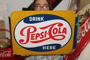 """Rare Vintage 1950's Drink Pepsi Cola Here Soda Pop 2 Sided 18"""" Metal Flange Sign"""