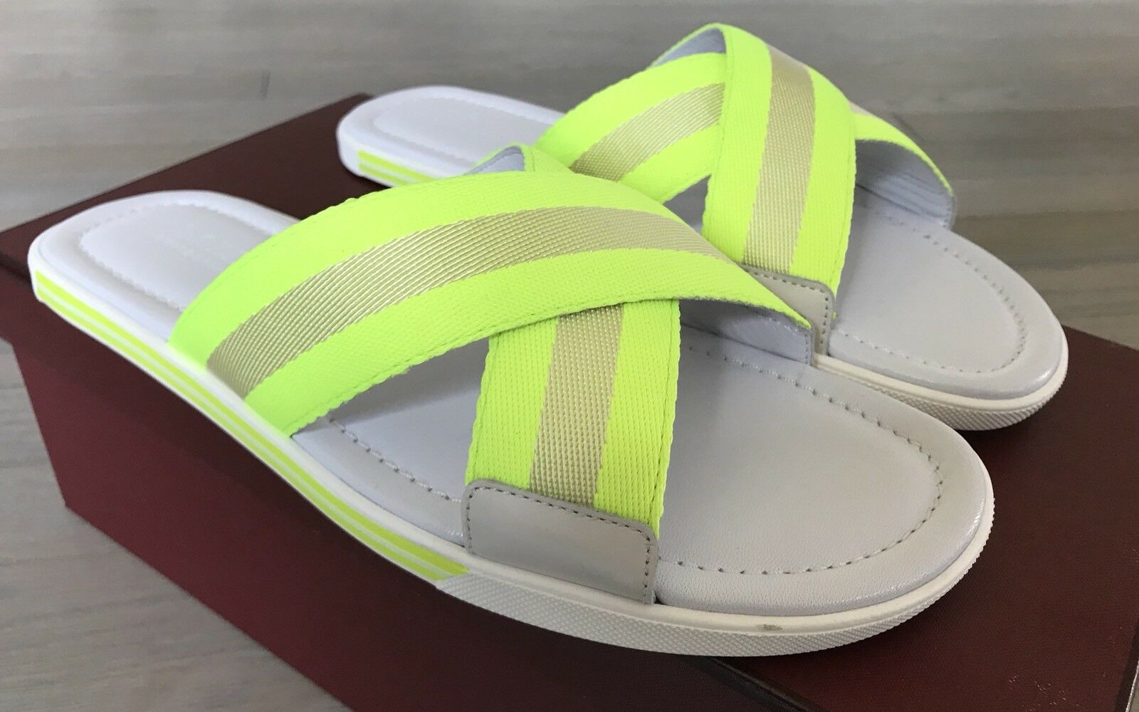aecaaaf4f7 500 Bonks White and Yellow Pelle Sandals size US 9 Made in Italy ...