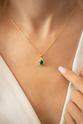 Tropfen Modell Smaragd Stein vergoldet Silber italienische Halskette Damen 925er