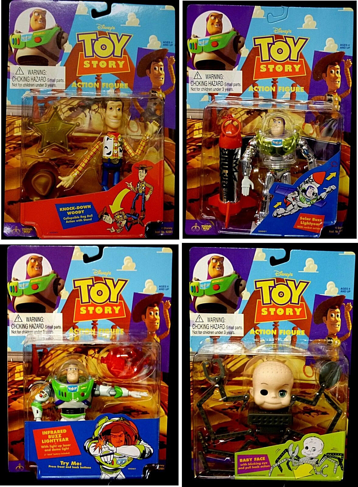 Toy Story Thinkway 4 ACTION FIGURE SET NEW 1995 baby face Woody Buzz