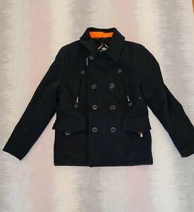 Black-Superdry-Mens-Button-Up-Navy-Label-Coat-SZ-L-70-Wool-Winter-Jacket