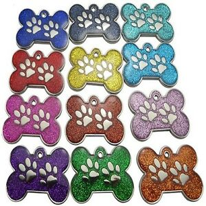 Engraved-Pet-ID-Tags-DOG-Bone-amp-Paw-Glitter-28mm-Disc-Engraved-FREE-Inc-Postage