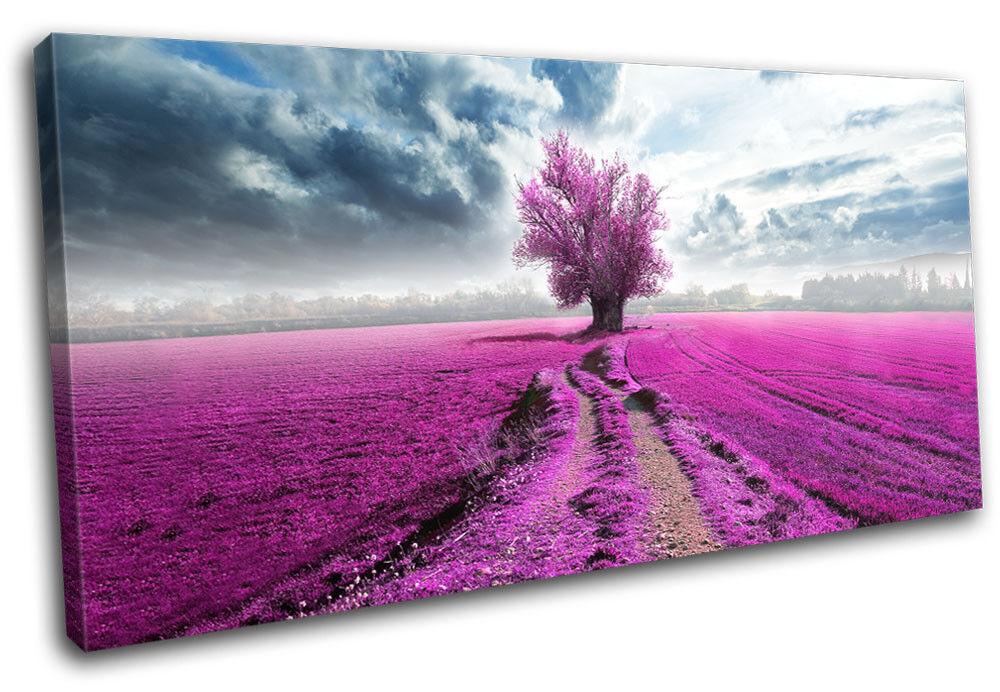 Surreal Tree rose Field Landscapes SINGLE TOILE murale ART Photo Print