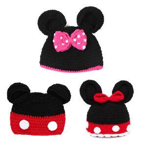 Neugeborene Baby Mickey Minnie Maus Häkeln Mütze Strick Hut