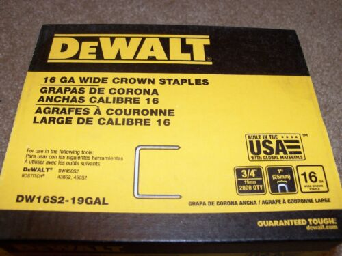 DeWalt 3//4 Inch 16 Gauge Wide Crown Staples 2000 count DW16S2-19GAL Fast Ship!