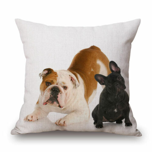 """Lovely French Bulldog 18/""""18/""""  Decor Cotton Linen Cushion cover Pillowcase"""
