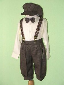 Boy-Infant-Toddler-Knickers-Vintage-Outfit-Ivory-Dark-Brown-12-Month-to-4T
