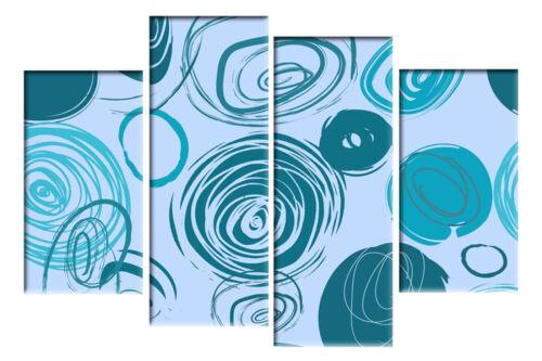 Grand Bleu Sarcelle Turquoise Duck Egg bleu toile cercles Mur Photo 4 Panneau 100cm